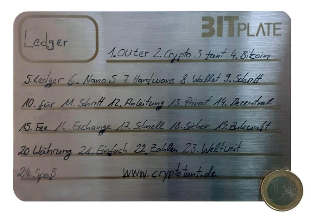 Bitplate Cold Wallet - Beschrieben mit Wasserfesten Stift