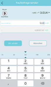 BISON App - Kaufanfrage Bitcoin