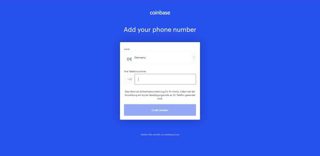 Coinbase - Angabe der Telefonnummer