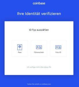 Coinbase - Auswahl des Dokuments zur Identifizierung