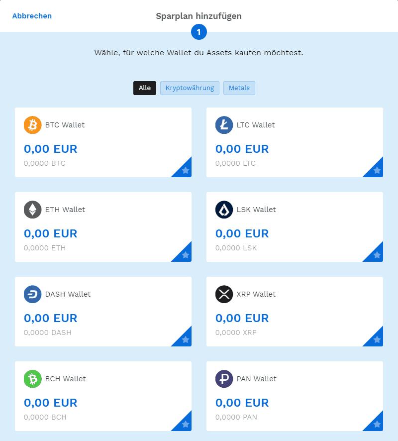 Bitpanda - Sparplan Wallet auswählen