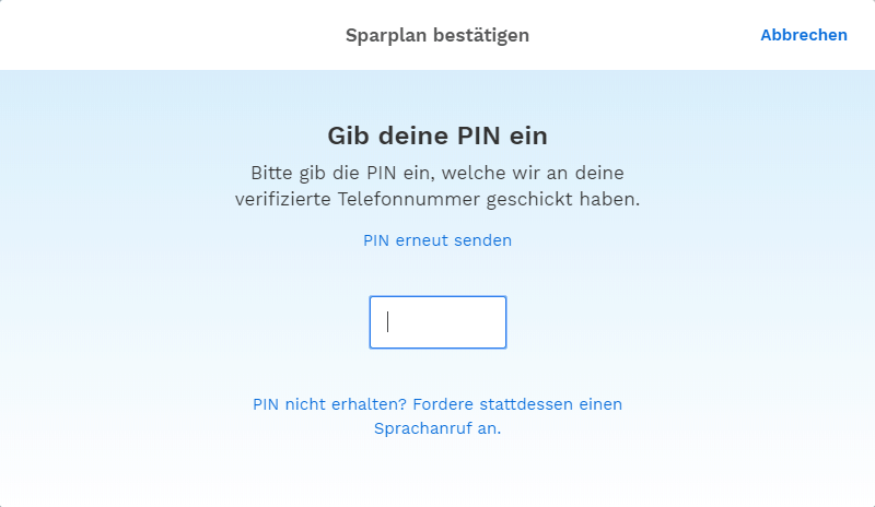 Bitpanda - SMS PIN-Code eingeben