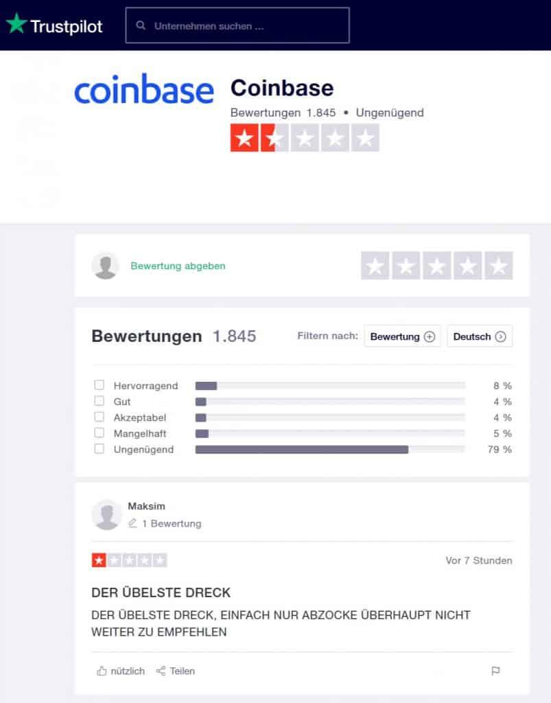 Coinbase - schlechte Wertungen bei Bewertungsportalen
