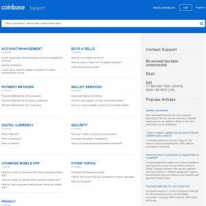 Coinbase - Kundendienst Portal