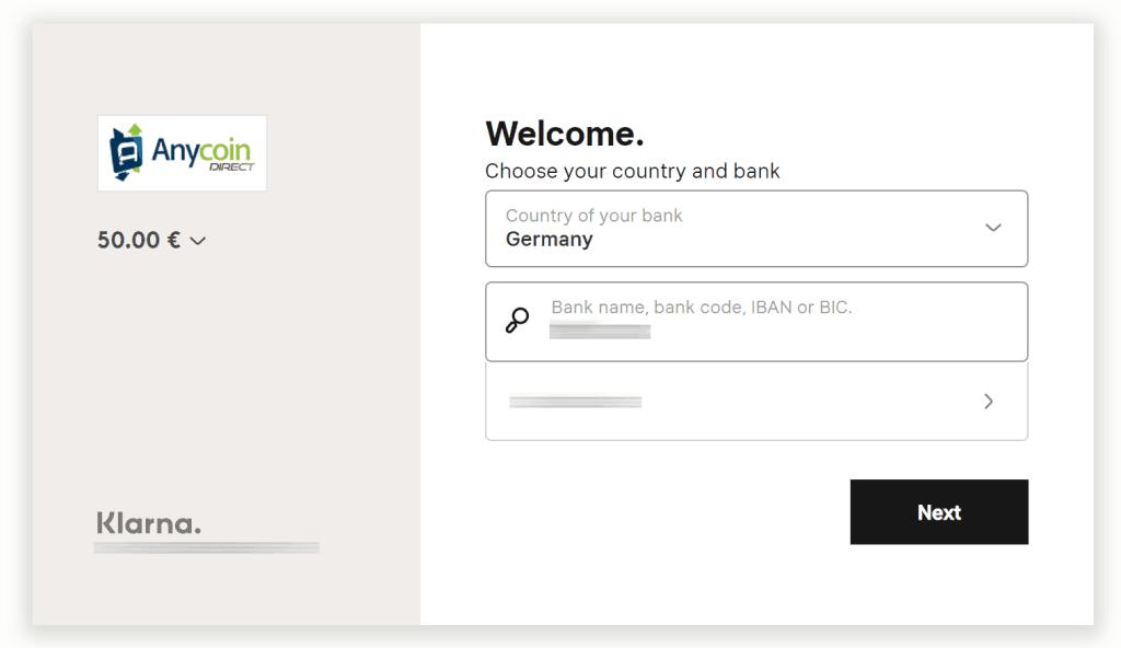 AnycoinDirect.eu - Bank auswählen
