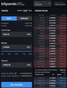 Bitpanda Global Exchange - Limit Order