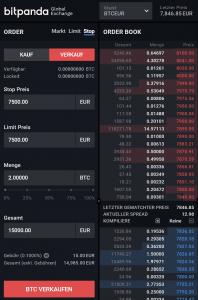 Bitpanda Global Exchange - Stop Limit Order