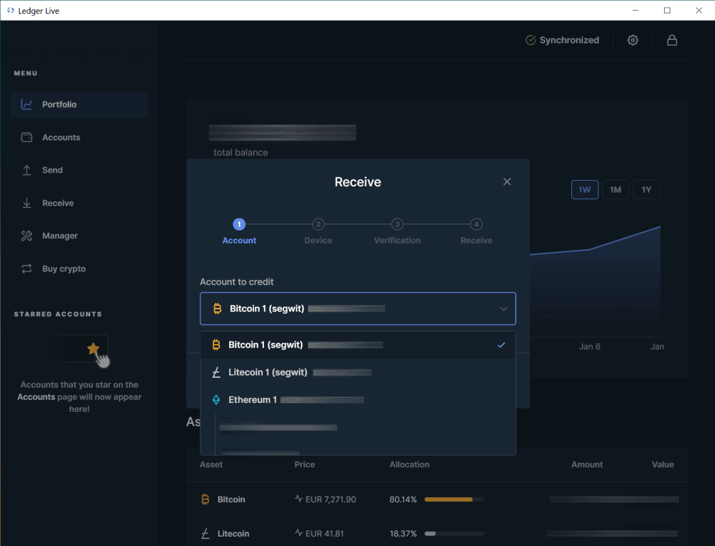 Ledger Live - Bitcoin Konto auswählen
