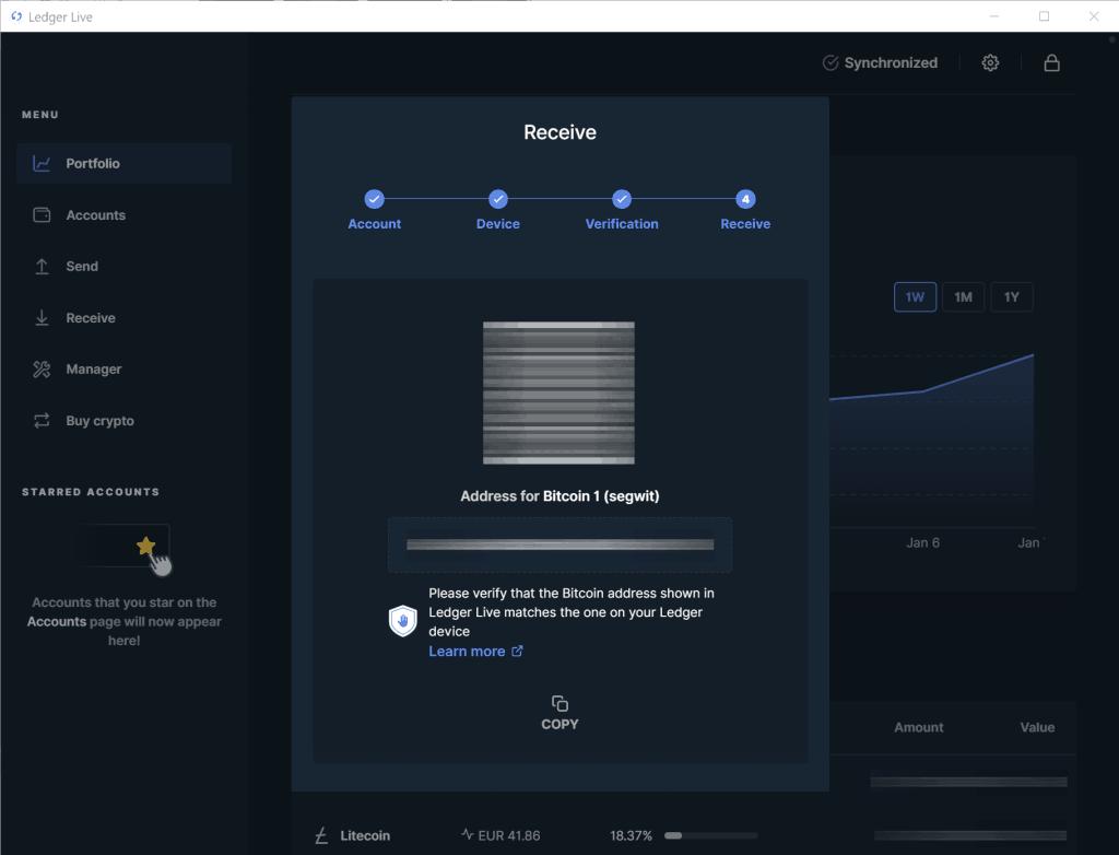 Ledger Live - Bitcoin Adresse kopieren
