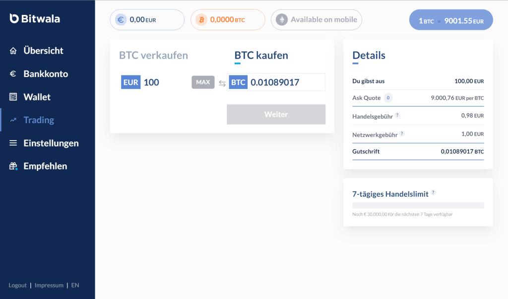 Bitwala - Bitcoin Trading