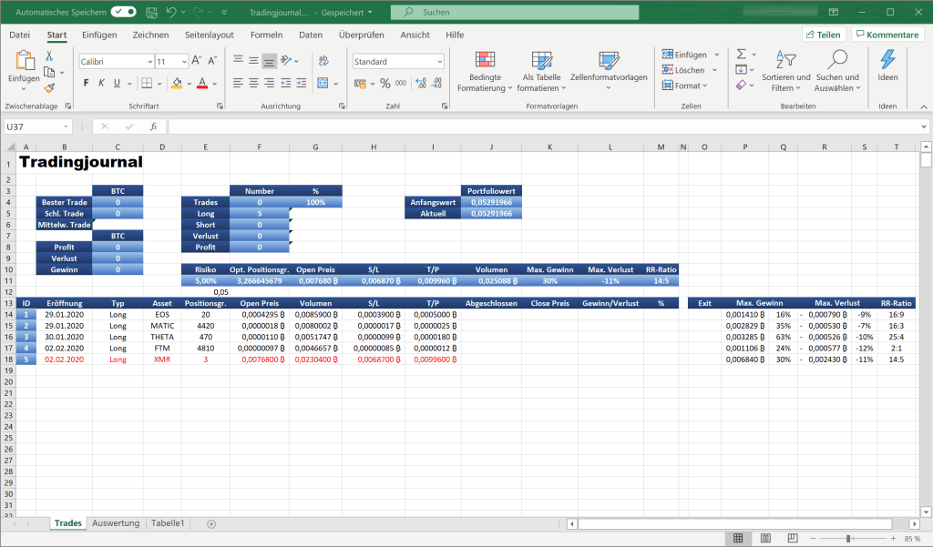 Cryptotant - Krypto Trading journal in Excel